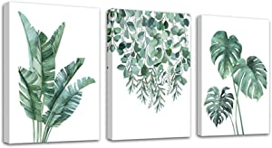 Rtriel Green Leaf Canvas Wall Art Monstera Palm Leaves Plants Prints Tropical Pictures for Living Room Bedroom Botanical Wall Decor Modern Framed Minimalist Watercolor Set of 3 Pieces 12 x 16 Inches