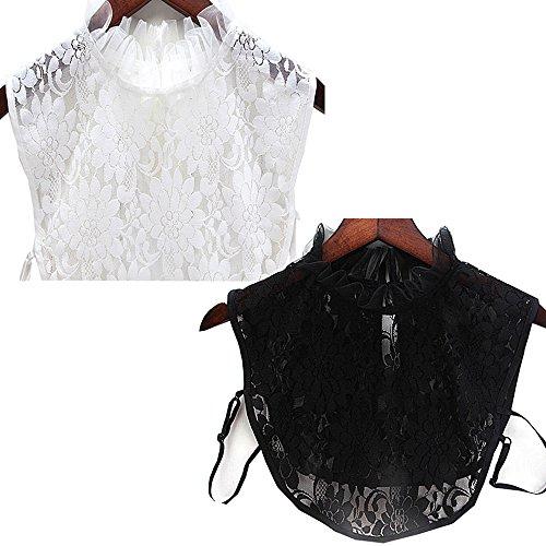 YAKEF 2PCS Women Girls Lotus Leaf Stand Fake Collar Detachable Half Shirt Blouse Cotton Collar (Black White)
