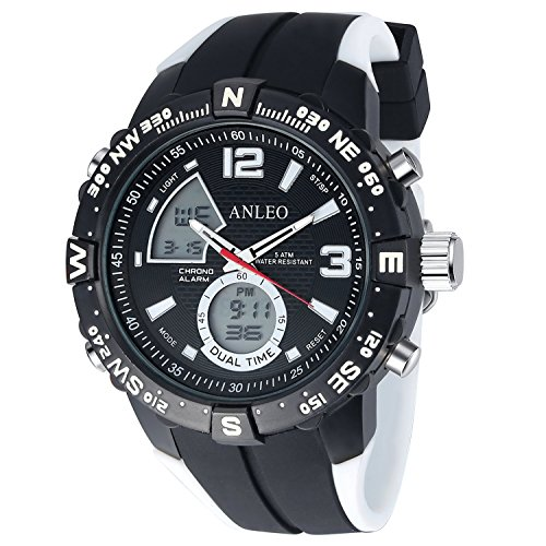 ANLEOWATCH 1PCS White Watch Men's Sport Watch Quartz Men Military Digital Display Wristwatch