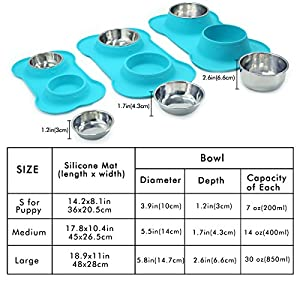 Vivaglory Dog Bowls, Set of 2, Stainless Steel Water and Food Bowl Pet Puppy Cat Feeder with Non Spill Skid Resistant Silicone Mat, Small, Turquoise
