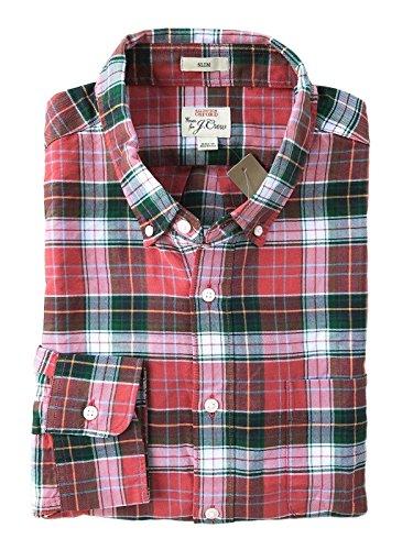 J Crew Men's Slim Fit - Plaid Oxford Shirt (X-Large, (Red Plaid Oxford Shirt)