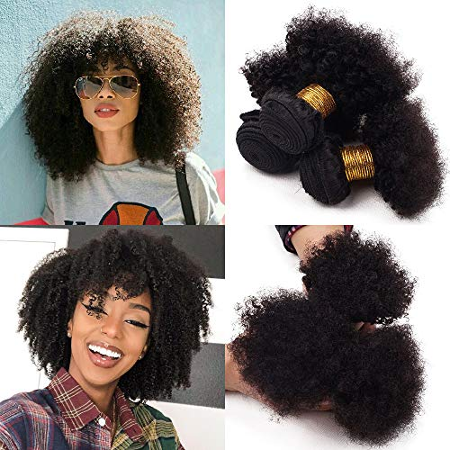 Veravicky Unprocessed Virgin Afro Kinky Curly Hair Extensions for Black Women Natural Color(8/10/12inch)