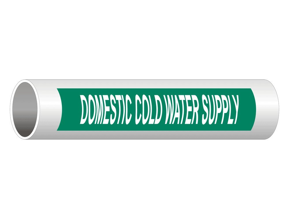 Domestic Cold Water Supply English + Spanish ASME A13.1 Pipe Label Decal, 8x2 in. 50-Pack Vinyl for Pipe Markers by ComplianceSigns