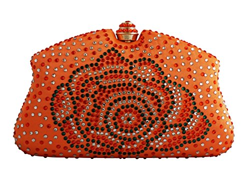Chicastic Orange Multi Color Rhinestone Crystal Hard Box Cocktail Clutch Purse (Crystal Box Clutch)