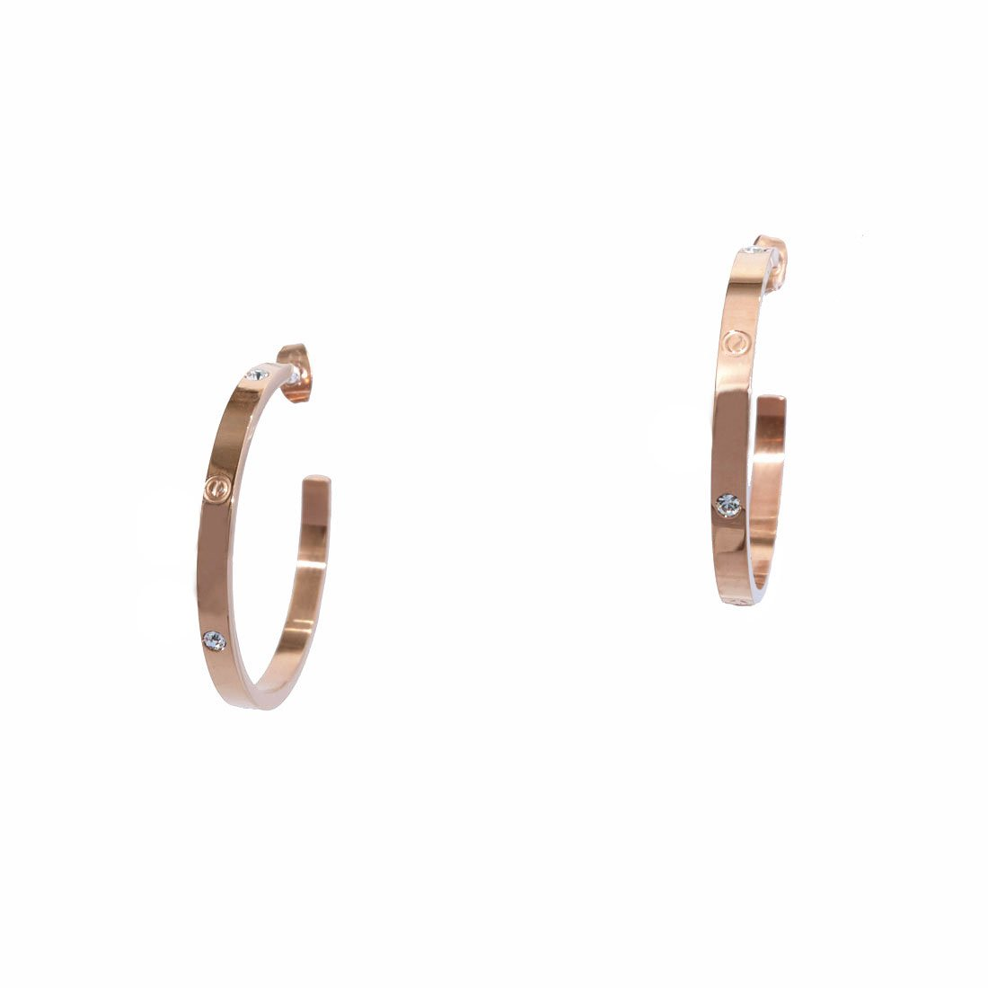 Baoli Titanium Steel Gold Screw Diamond Love Big Hoop Earring (rose gold)