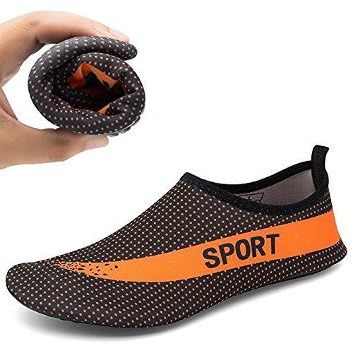 Demetry Unisex Quick-Dry Wasserschuhe Leichte Aqua Socken zum Schwimmen, Wandern, Yoga, Strand, Wasserpark Schwarz / Orange