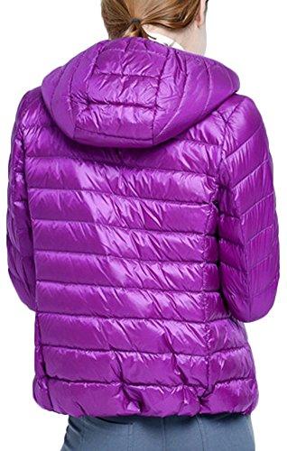 Invernale Cappuccio per Giacche Leggero Ultra Mochoose Rivestimento Parka Donna Del Del con Cappotto Piumino Viola Classico Zipper qwOx6tA