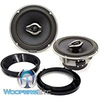 pkg HCX 165 - Hertz 6.5 100W RMS Hi-Energy Coaxial Speakers + Arc Audio 5.25 to 6.5 Speaker Adapter Rings For Motorcycles