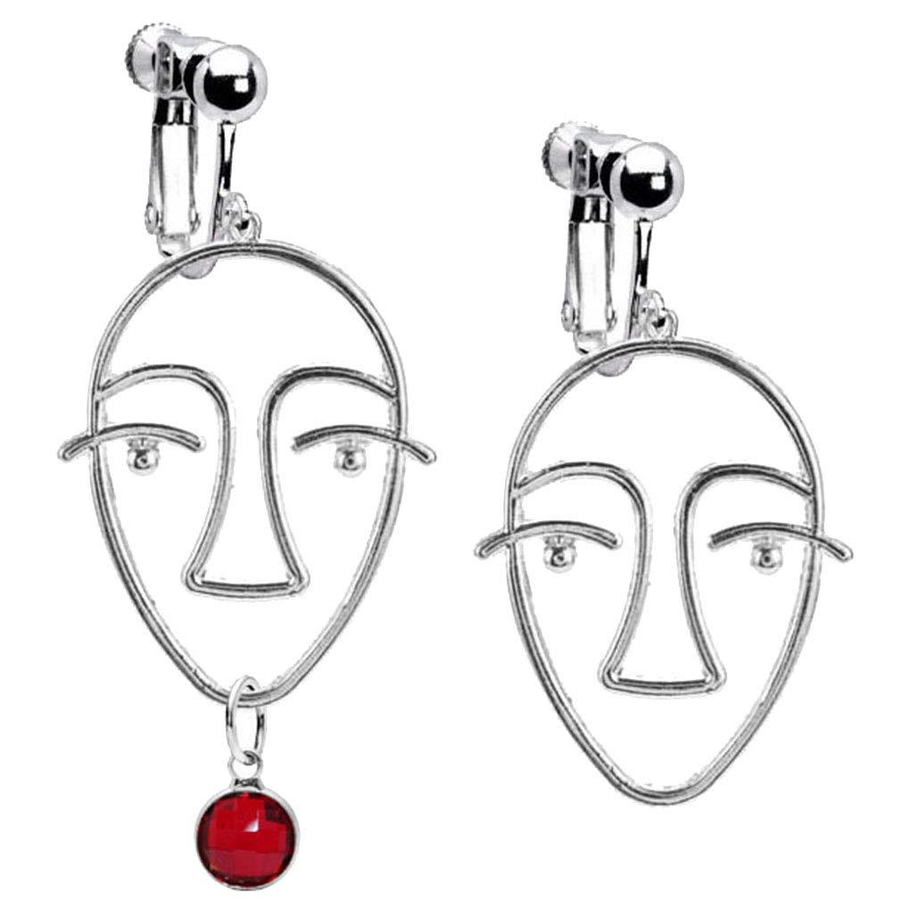Abstract Beauty Girl Face Emoji Clip on Earrings Crystal January Birthstone Asymmetric Drop