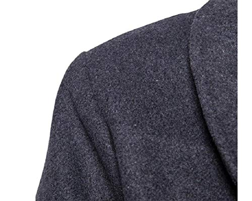 Coat Woolen Style Turn Solid Top Grey Collar British Men Down Howme Stylish qgZv1v
