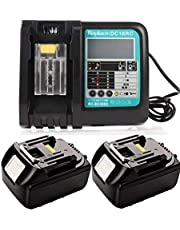 2 stuks 18V 5.0Ah reserveaccu met 3A lader voor Makita 18V accu BL1850 BL1840 BL1830 BL1820 BL1815 BL1860 gereedschapsaccu met LED-indicator