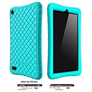 Bear Motion Silicone Case for All-New Fire 7 Tablet with Alexa - Anti Slip Shockproof Light Weight Kids Friendly Protective Case for Amazon Kindle Fire 7 (ONLY for 7th Generation 2017 Model) (Green)