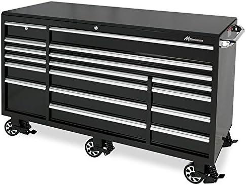 Montezuma Tool Box – 72 17-Drawer Roller Cabinet with 18 Gauge Steel Construction Black Powder Coat Finish – BK7217MZ