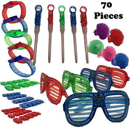 Ultimate 70 Piece LED Light Up Party Pack | Party Favors Feature: 5 LED Shutter Shades, 5 LED Finger Swords, 5 LED Jelly Rings, 5 LED Bracelets, 50 LED Blue/Red/Green Finger Lights