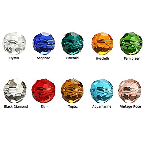 BRCbeads Crystal Glass Beads Finding Spacer Charms 250pcs Faceted #5000 Round Shape 8mm Assorted Colors include Plastic Jewelry Container Box Wholesale Mix lot for jewelery - Beads And Findings