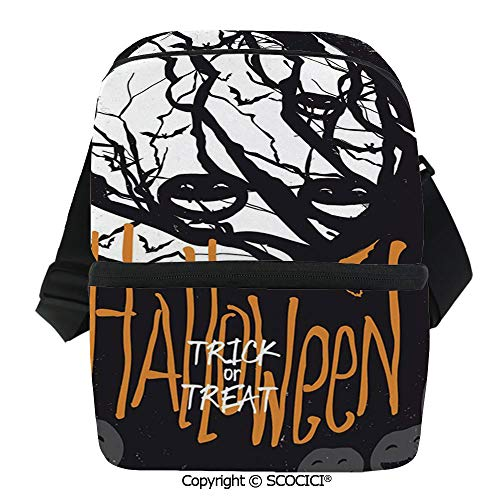 SCOCICI Collapsible Cooler Bag Halloween Themed Image with Full Moon and Jack o Lanterns on a Tree Decorative Insulated Soft Lunch Leakproof Cooler Bag for Camping,Picnic,BBQ]()