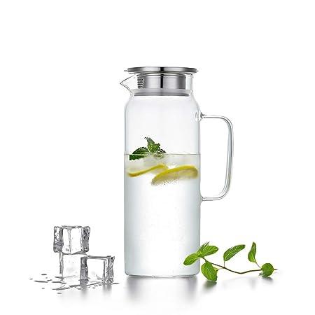 HwaGui Jarra de Agua Cristal Borosilicato Jarras de Vidrio con Tapa Acero Inoxidable 1 litros