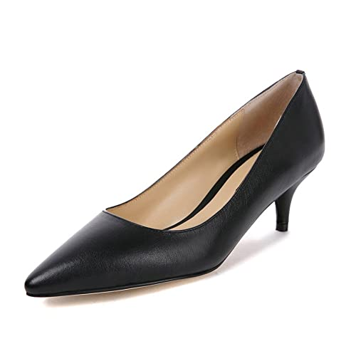 696bca438c Womens Kitten Heel Pump Shoes Ladies Nude Patent Court Shoes Leather Office  Work Mid Heels Pointed