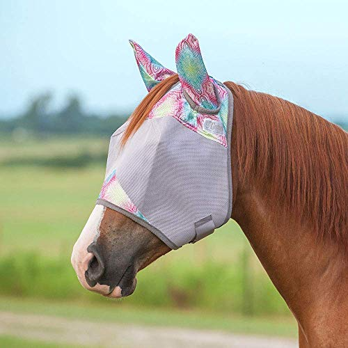 Cashel Company Crusader Patterned Horse Equine Standard with Ears Fly Mask (Yearling, Multi Henna)