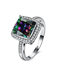 Mystic Rainbow Rings For Women Lady Silver Filled Wedding Party Love Ring Anel Valentine's Day R2081