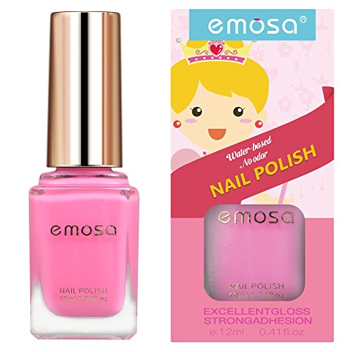 Peelable Non Toxic Nail Polish - Emosa Natural Chemical Free Water Based Fast Drying Nail Art Makeup for Little Girls,Kids,Toddler,Baby,Pregnant Women (Pink)