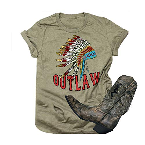Indian Headdress Outlaw T-Shirt Women Short Sleeve Novelty Graphic Tees Size M (Army Green)
