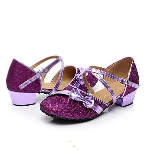 Mädchen moderner Latin Dance Schuhe Weichen Purple mit Kindertanz Boden für Schuhe zUqEwOA