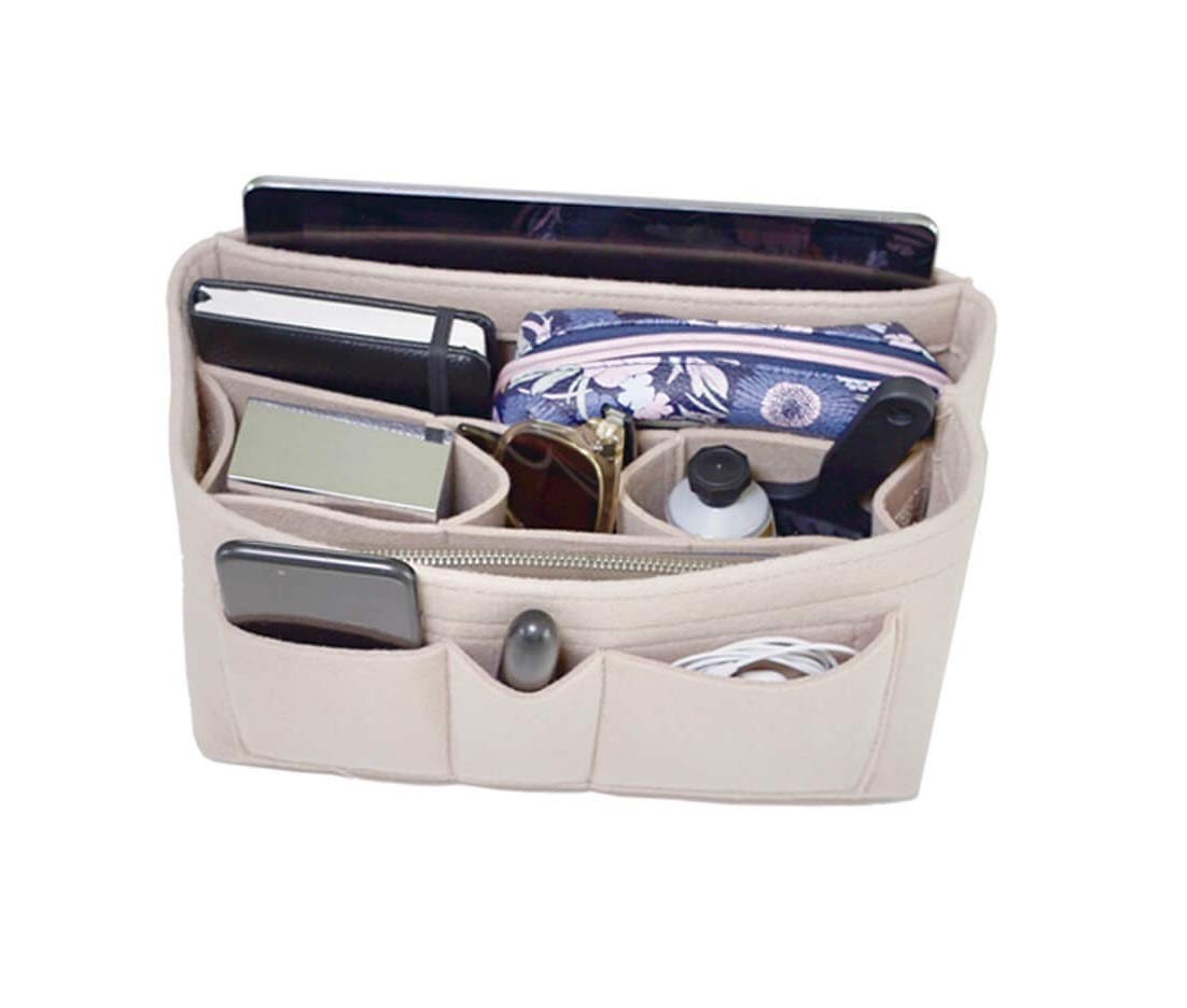 Handbag Organizer - 2in1 Bag Purse Tote Insert with Waterproof Pocket