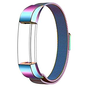 Fitbit Alta HR and Alta Bands Metal, Swees Milanese Stainless Steel Replacement Accessories Metal Small & Large Band for Fitbit Alta HR and Alta, Colorful