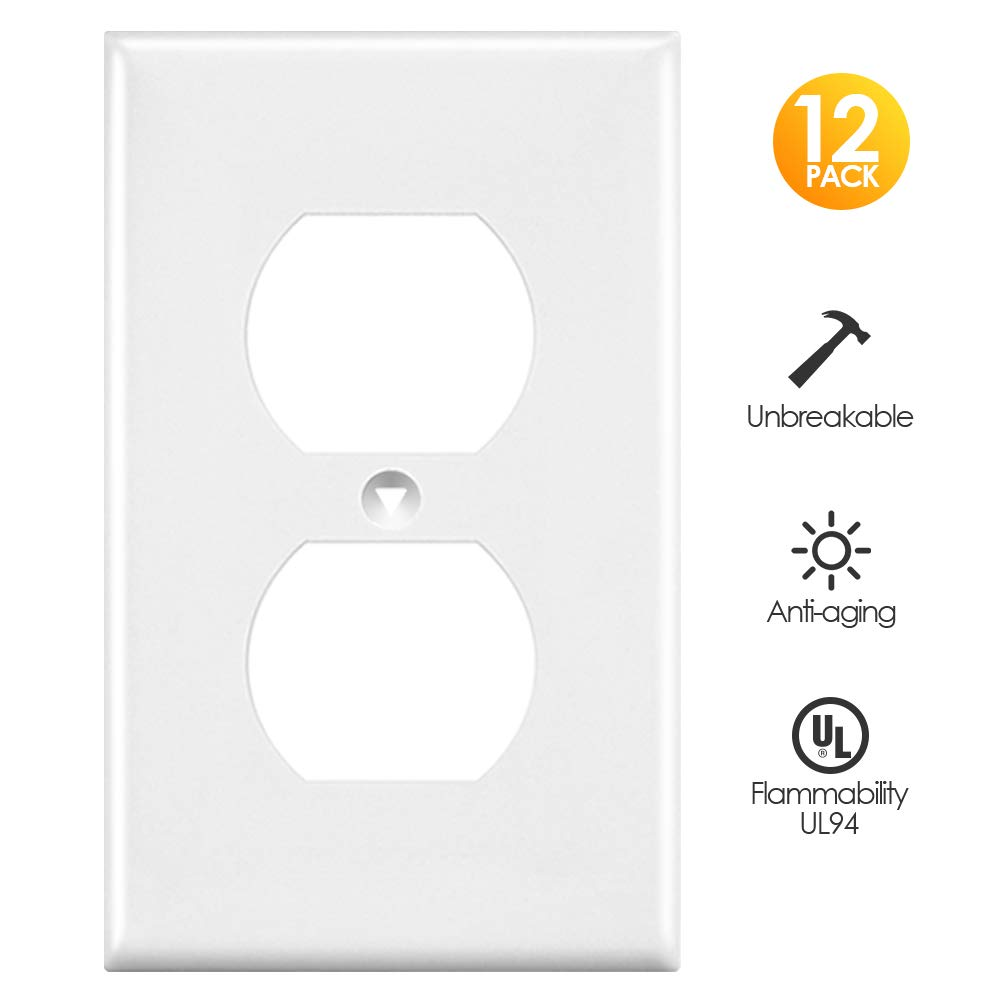 nice Decorative Electrical Wall Plates Part - 17: Outlet Covers, White Wall Plates Light Switch Power Plug Cover, 1-Gang  Duplex Decorative Electrical Plate Kit, Unbreakable Polycarbonate Material,  ...