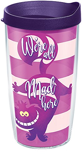 (Tervis 1269224 Disney - Alice In Wonderland Cheshire Cat Insulated Tumbler with Wrap and Royal Purple Lid, 16 oz, Clear )