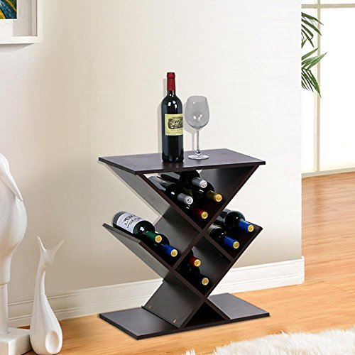 go2buy Brown Wood Narrow Wine Rack Butterfly Style Storage Stand Small Spaces Sofa Side Table (Wine Rack For Dining Room)