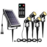 YUNLIGHTS Solar Landscape Lights, Low Voltage Outdoor Solar Spotlight Wireless Remote Control Waterproof Garden Lights for Patio, Yard, Pathway (Warm White, 4 Pack)