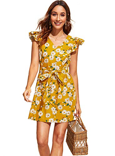 (Milumia Women's Floral Print Self Tie Ruffle Cap Sleeve V Neck Belted Dress)