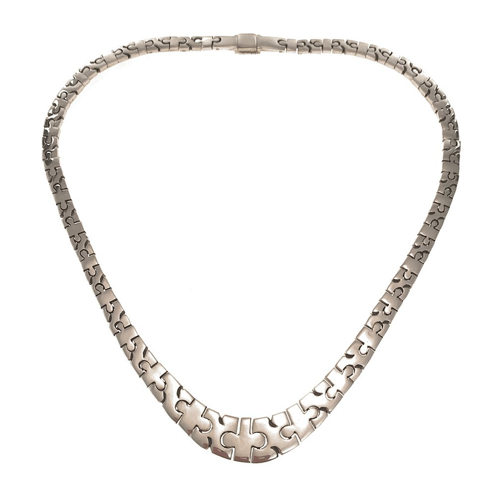 Sterling Silver Puzzle Link Necklace, 16 1/4''