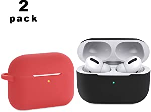 CEEPUY Case for Airpods Pro,2 Pack Protective Soft Silicone Earbuds Cover Headphones Accessories Compatible for Apple Airpod Pro 2019[Front LED Visible],Black/Red