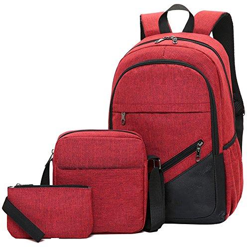 Piezas Mochila Set Ocio Computadora Portatil Color Negocios Tres Sólido Bolsa Rojo Ordenador Backpack De Ishiné Lona Para Hombres Viaje wEtq4n4d