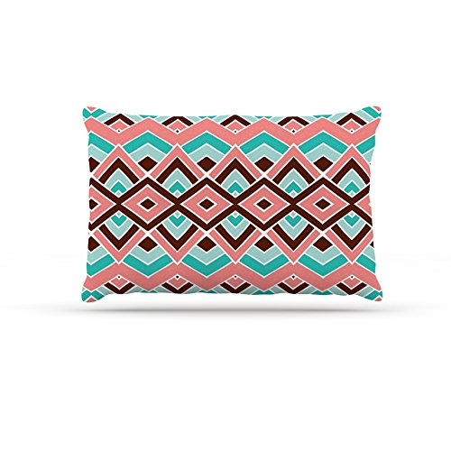 Large 30\ Kess InHouse Pom Graphic Design Eclectic  Peach Teal Dog Bed