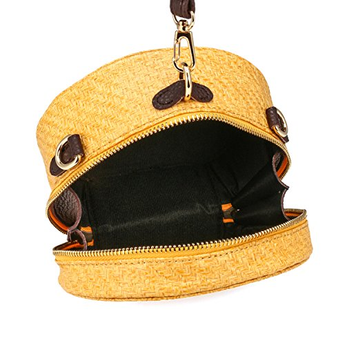 Circle Bag Straw Summer JOSEKO Brown Khaki Bag Basket Handmade Beach Round Bag Rattan Purse Woven Wicker awwzq