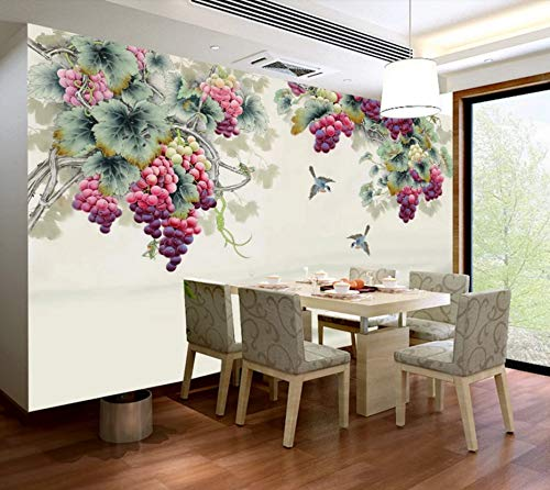 3D Wallpaper Stickers Murals Decorations Wall Flying Birds and Grapes Living Room Background Art Decorative Cover Art Kids Room (W)400x(H)280cm from VVBIHUAING
