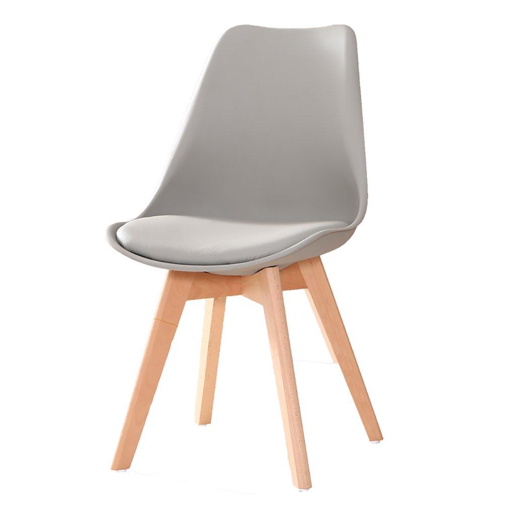 ZJMソリッドウッドダイニングチェアキッチンチェアブナオフィストークンクロス大人の家の椅子強いベアリング (色 : グレー) B07F23TLVF グレー グレー