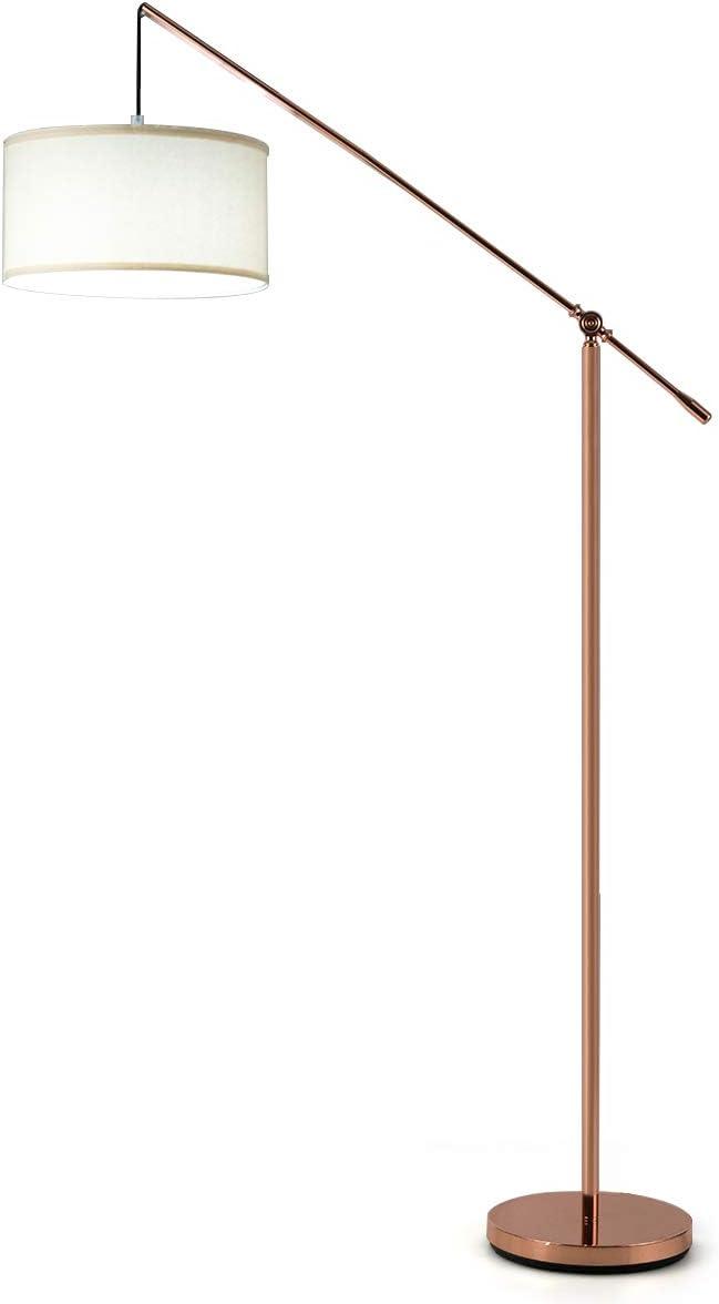DREAMADE Lampada da Terra per Soggiorno,Salotto,Camera da Letto,Ufficio,Lampada da Terra LED,Regolabile in Altezza,Corpo Mettallo,Bianco e Rame Rosso