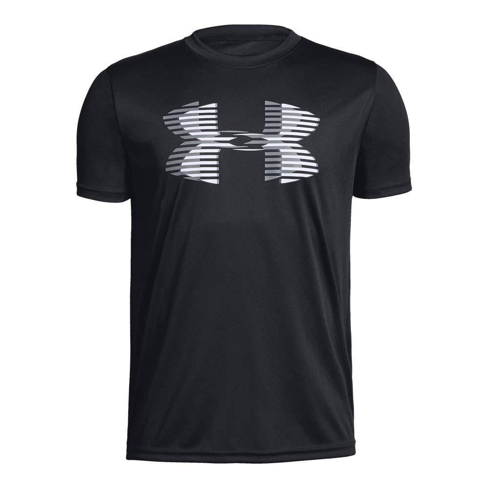 Under Armour boys Tech Big Logo Solid T-Shirt, Black (001)/Steel, Youth X-Small