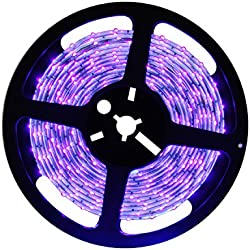 Deep Dream UV Black Light Led Strip 16.4Ft/5M 3528 300LEDs Flexible Waterproof IP65 BlackLight Night Fishing Sterilization implicitly Party with 12V 2A Power Supply