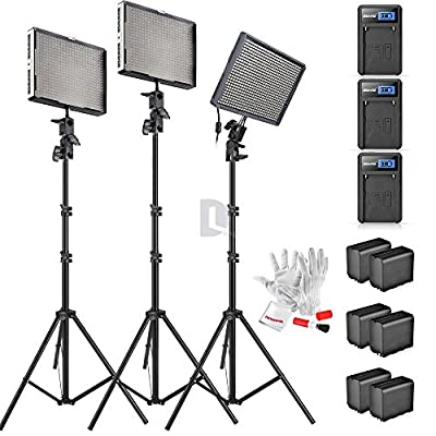 Aputure Amaran AL-528KIT(AL-528S + AL-528W*2) 528 Led Video Light Panel Studio LED Lighting Kit with Light Stand, Sony NP-F960 Battery Pack and Pergear Clean Kit