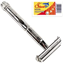 Parker 90R - Long Handle Butterfly Open Double Edge Safety Razor and 5 Shark Super Chrome Blades