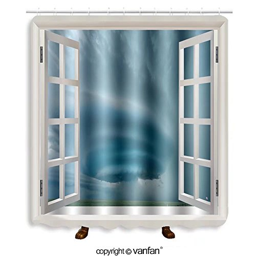 Vanfan designed Windows 140692921 Supercell near Vega, Texas - May 2012 Shower Curtains,Waterproof Mildew-Resistant Fabric Shower Curtain For Bathroom Decoration Decor With Shower - Premium Near Las Vegas Outlets