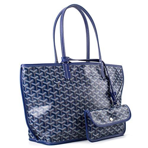 Neverfull Style Designer Woman Organizer Handbag Tote Shoulder Shopping Bag MM Size (Deep Blue)