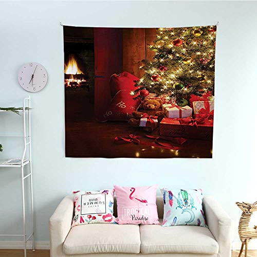 Christmas Wall Tapestry Xmas Scene Celebrations with Tree and Gifts by The Fireplace Artful Design Image Colorful Tapestry 63W x 63L InchRed Yellow