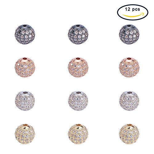 PandaHall Elite 12 Pcs 8mm Brass CZ Cubic Zirconia Pave Micro Setting Round Disco Ball Spacers Beads 4 Colors for Jewelry Making Crystal Shamballa String Bracelet